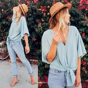 Tops - Chambray Tie Front Short Sleeve Top